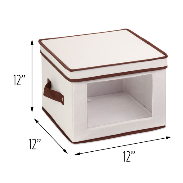 12x12 Dinnerware Storage Box, Natural/Brown