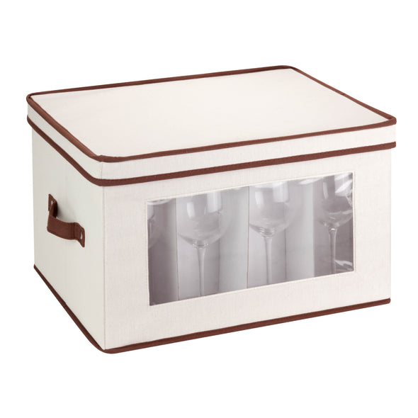 17x13 Stemware Storage Chest, Natural/Brown