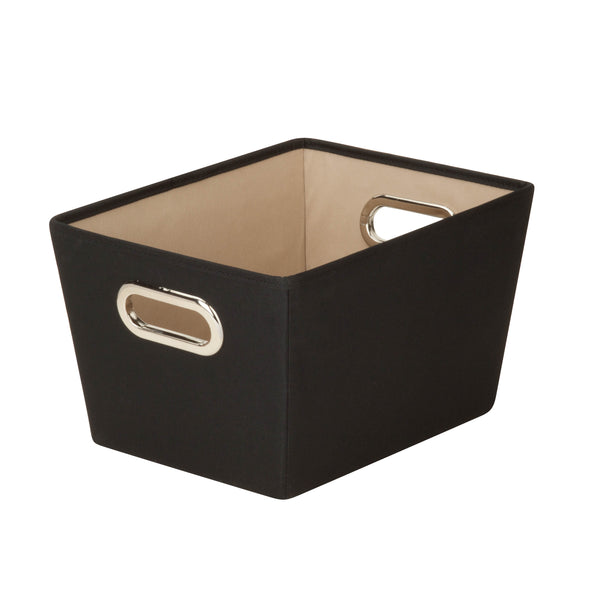 Small Storage Bin with Handles, Black