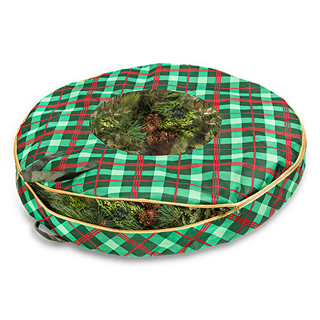 christmas wreath storage bag very merry plaid