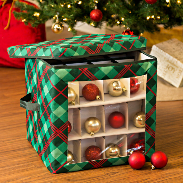 48-Ornament Storage Box, Very Merry Plaid