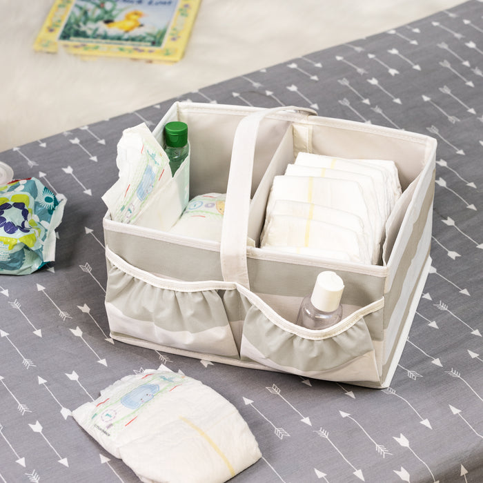 Explore + Store Baby Diaper Caddy, Grey Stripe