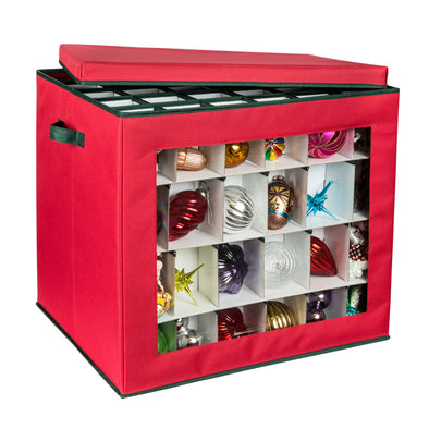 120-Cube Ornament Storage Container, Red