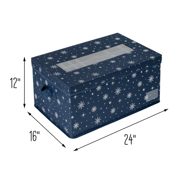 Deluxe 72-Cube Ornament Storage Box, Navy
