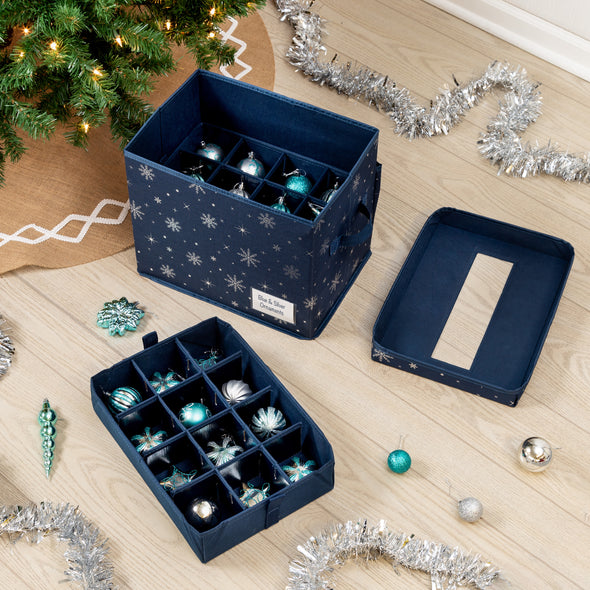 Deluxe 36-Cube Ornament Storage Box, Navy