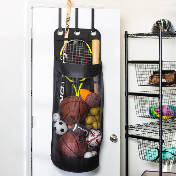 Over-The-Door Hanging Sports Equipment Organization and Ball Storage, Black