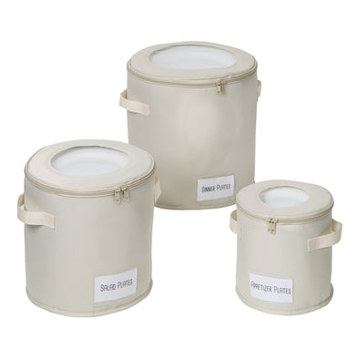 Round Dinnerware Storage Box Set of Three, Natural