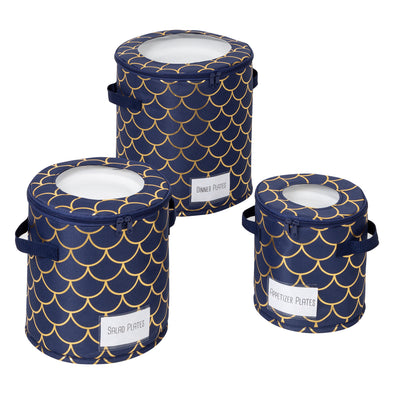 Round Dinnerware Storage Box Set of Three, Golden Scallop Print