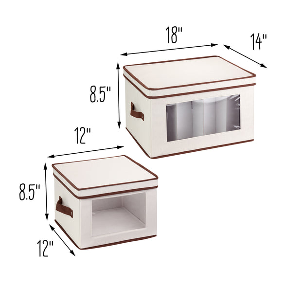 2-Pack Dishware or Closet Window Storage Boxes, Natural