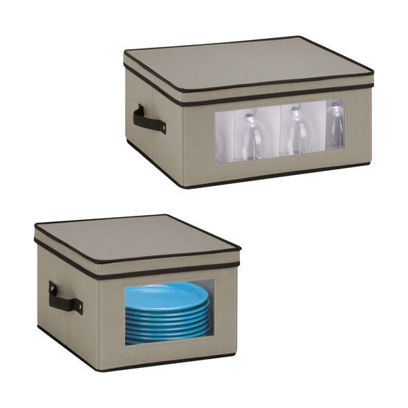 2-Pack Dishware or Closet Window Storage Boxes, Grey
