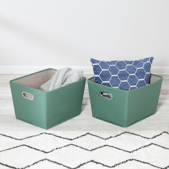 2-Pack Medium Storage Bins With Handles, Green