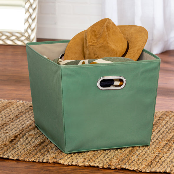 2-Pack Large Storage Bins With Handles, Green