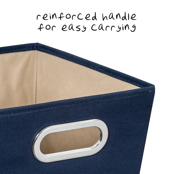 2-Pack Small Storage Bins With Handles, Navy