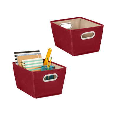 2-Pack Small Storage Bins With Handles, Red