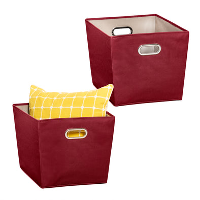 2-Pack Large Storage Bins With Handles, Red