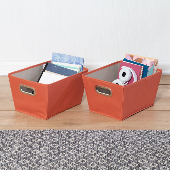 2-Pack Small Storage Bins With Handles, Orange