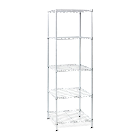 5-Tier Adjustable Shelving Unit with 250-lb Shelf Capacity, White