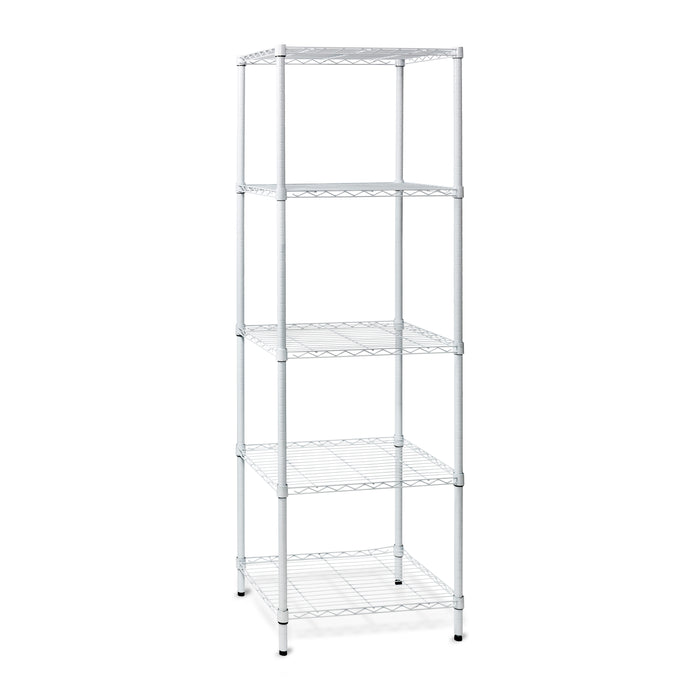 5-Tier Adjustable Shelving Unit with 250-lb Shelf Capacity, White - honeycando.com