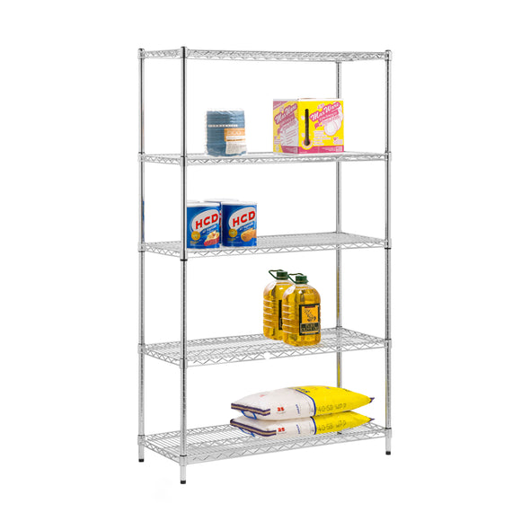 5-Tier Adjustable Shelving Unit with 800-lb Shelf Capacity, Chrome