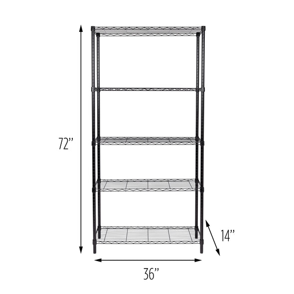 5-Tier Adjustable Shelving Unit with 200-lb Shelf Capacity, Black