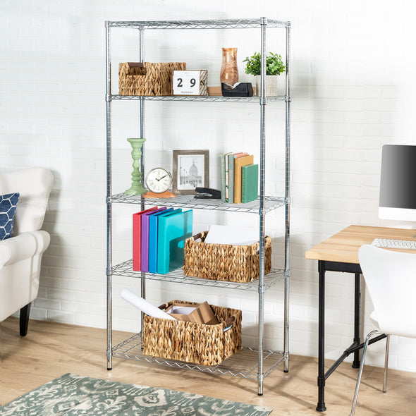 5-Tier Heavy-Duty Adjustable Shelving Unit With 200-lb Shelf Capacity, Chrome