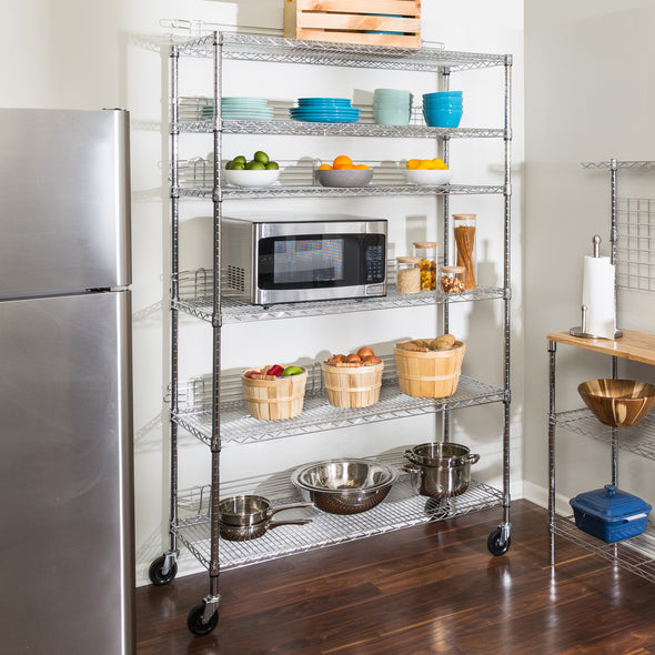 6-Tier Heavy-Duty Adjustable Shelving Unit With 600-lb Shelf Weight Capacity, Chrome