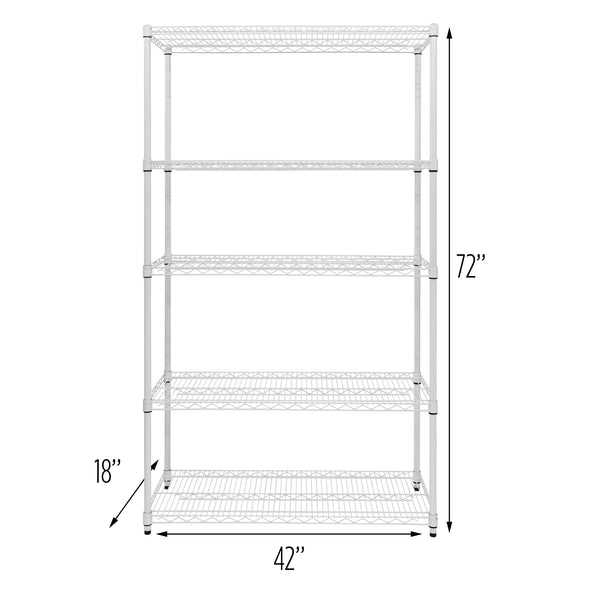5-Tier Adjustable Shelving Unit with 800-lb Shelf Capacity, White