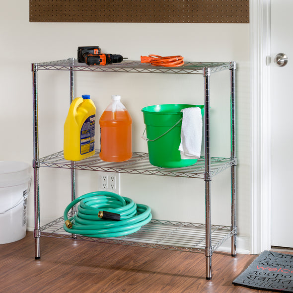 3-Tier Adjustable Shelving Unit with 200-lb Shelf Capacity, Chrome