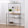Bakers Rack with Shelves and Hanging Storage, Chrome