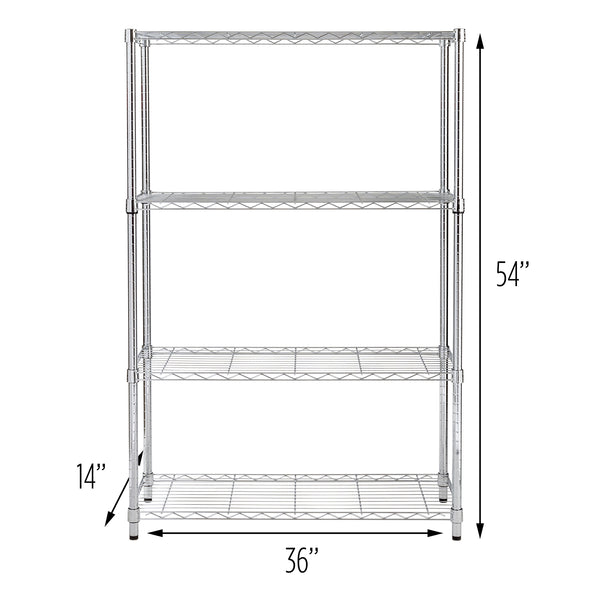 4-Tier Adjustable Shelving Unit with 250-lb Weight Capacity, Chrome