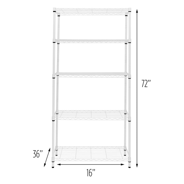 5-Tier Adjustable Shelving Unit with 350-lb Shelf Capacity, White