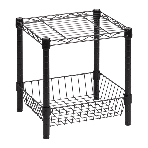 Black Wire Shelf with Basket