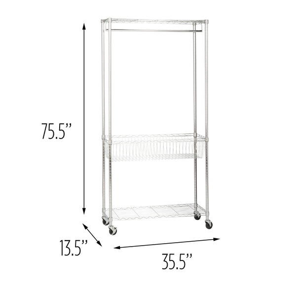 Rolling Laundry Clothes Rack with Shelves, Chrome