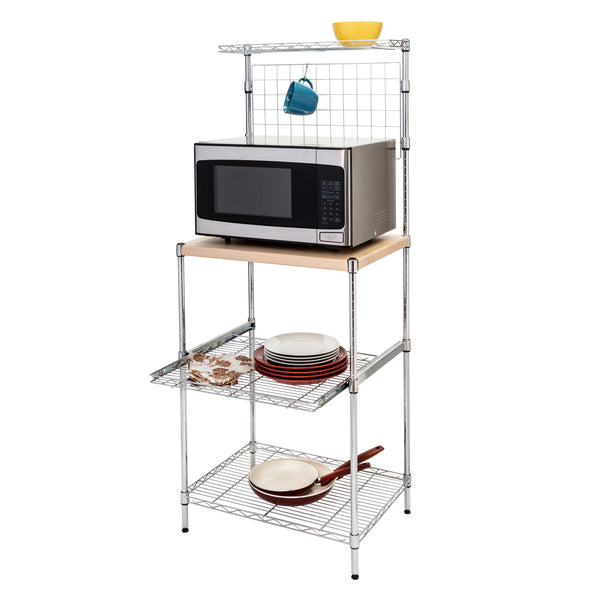 Microwave Shelving Unit with Shelves, Chrome with Wood Top