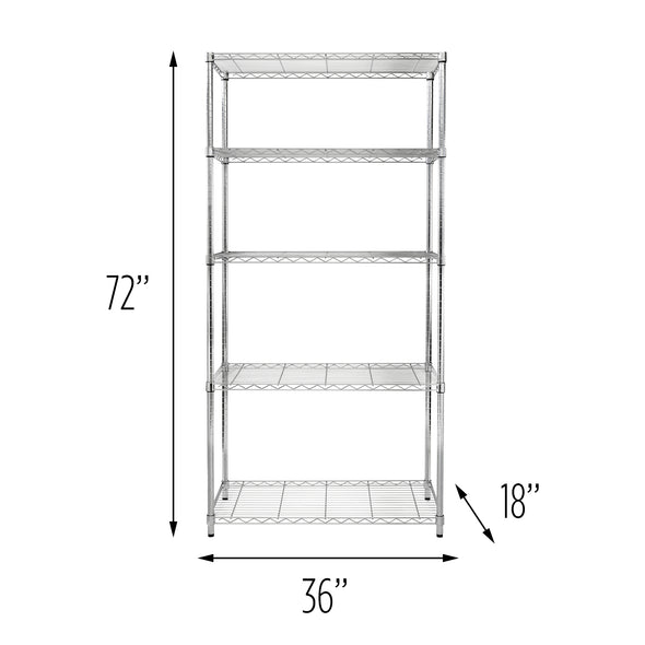 5-Tier Adjustable Shelving Unit with 350-lb Shelf Capacity, Chrome