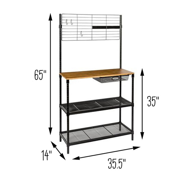 65-Inch Bakers Rack with Cutting Board and Hanging Storage, Black