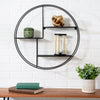 Rustic Circular Wall Shelf, Black