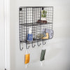 4-Cubby Wall Shelf With Hooks, Black