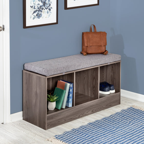 Entryway Bench with Storage Shelves, Farmhouse Gray