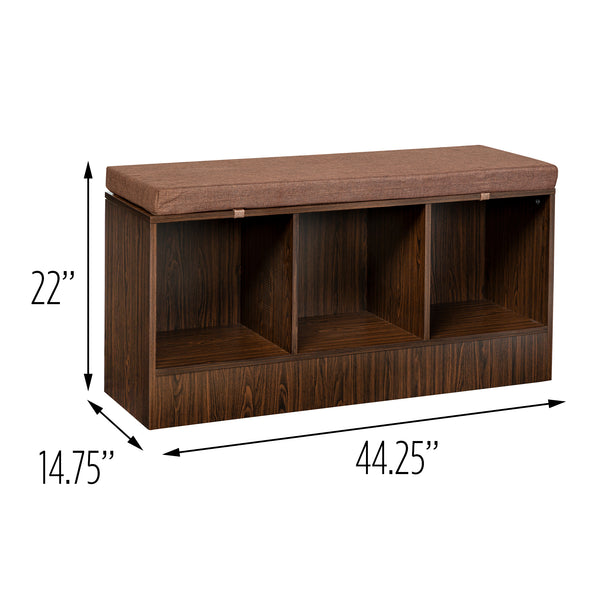 Entryway Bench with Storage Shelves, Deep Espresso