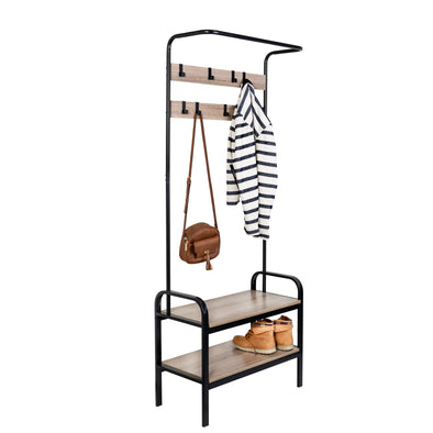 Entryway Bench with Coat Hooks and Shoe Storage, Willow Gray