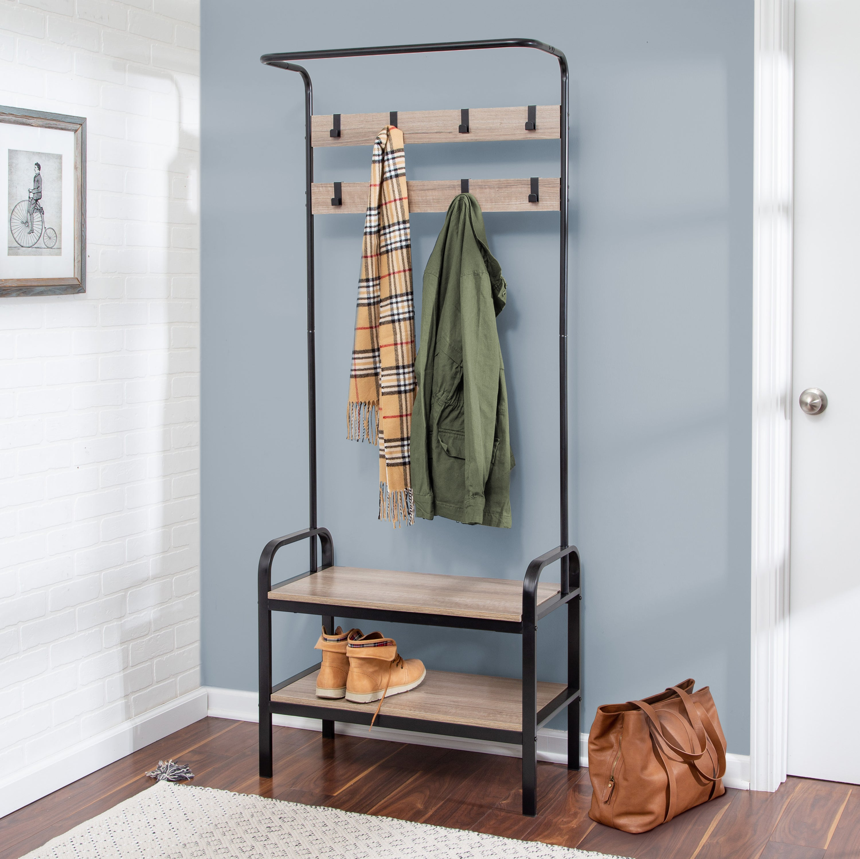 Entryway Bench With Coat Hooks And Shoe Storage Willow Gray
