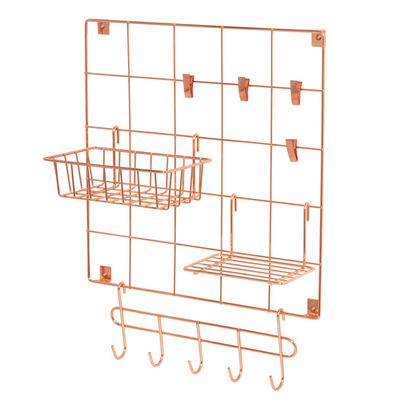 8-Piece Wire Wall Grid with Storage Accessories, Copper