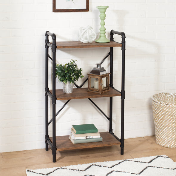 3-Tier Industrial Black Bookshelf