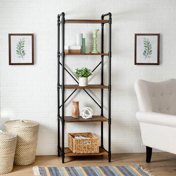 5-Tier Industrial Black Bookshelf