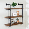 3-Tier Black Industrial Wall Shelf