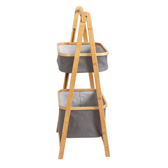 Bamboo & Canvas 2-Tier Collapsible Shelves