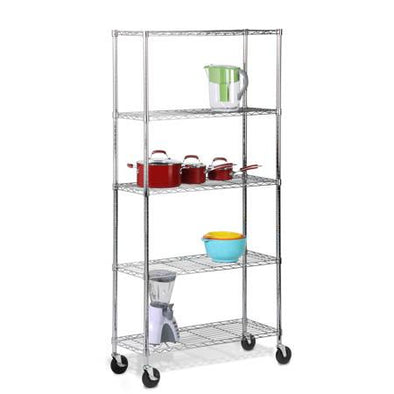 5-Tier Adjustable Shelving Unit with Wheels/Casters, Chrome - honeycando.com