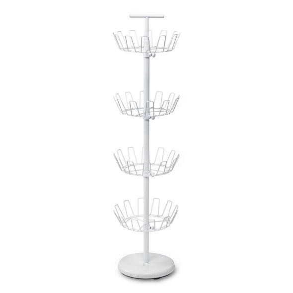 4-Tier Revolving Shoe Tree, White