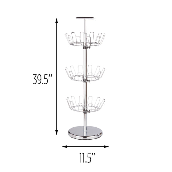 3-Tier Revolving Shoe Tree, Chrome